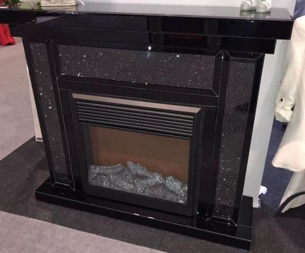 Luxury Black Crushed Diamond Fireplace