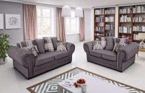 Orlando 3+2 Chesterfield Graphite Scatter Cushions Sofa Set