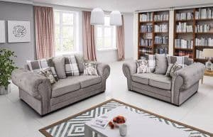 Orlando 3+2 Chesterfield Silver Scatter Sofa Set