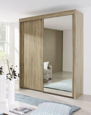 Peril 2 Door Mirror Sliding Wardrobe in Sonoma Oak