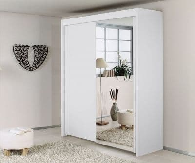 Peril 2 Door Mirror Sliding Wardrobe in White