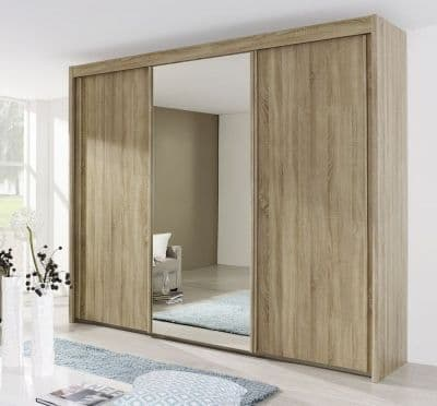 Peril 3 Door Mirror Sliding Wardrobe In Sanremo Oak Light