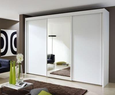 Peril 3 Door Mirror Sliding Wardrobe in White