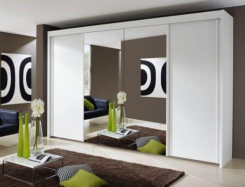 Peril 4 Door Mirror Sliding Wardrobe In White