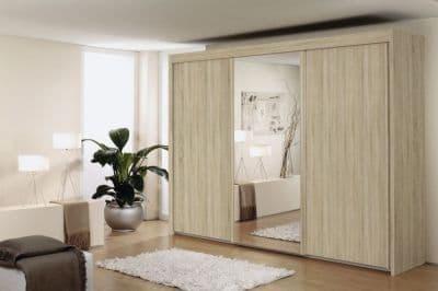 Peril Sliding Wardrobe- Front With Wooden Decor & Mirror