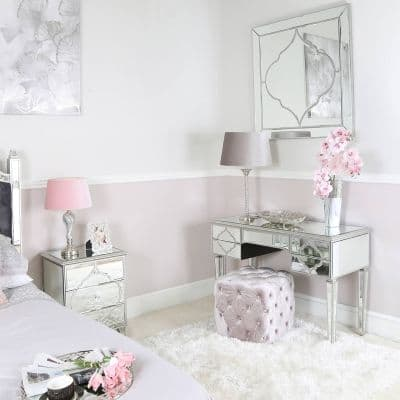 Silver Mirror 5 Drawer Dressing Table