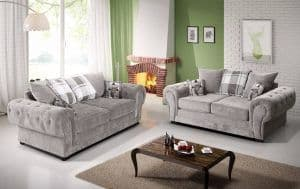 Venezia 3+2 Large Silver Chesterfield Sofa Set