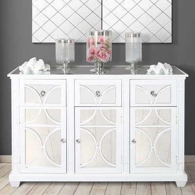 White Wood 3 Door and 3 Drawer Sideboard