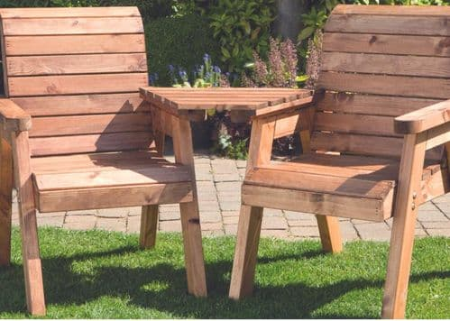 Wooden Angled Twin seater set