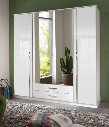 Zinc 4 Door Com-bi Wardrobe In High Gloss