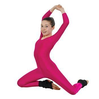 Long Sleeved Catsuit Plain Front With Stirrup