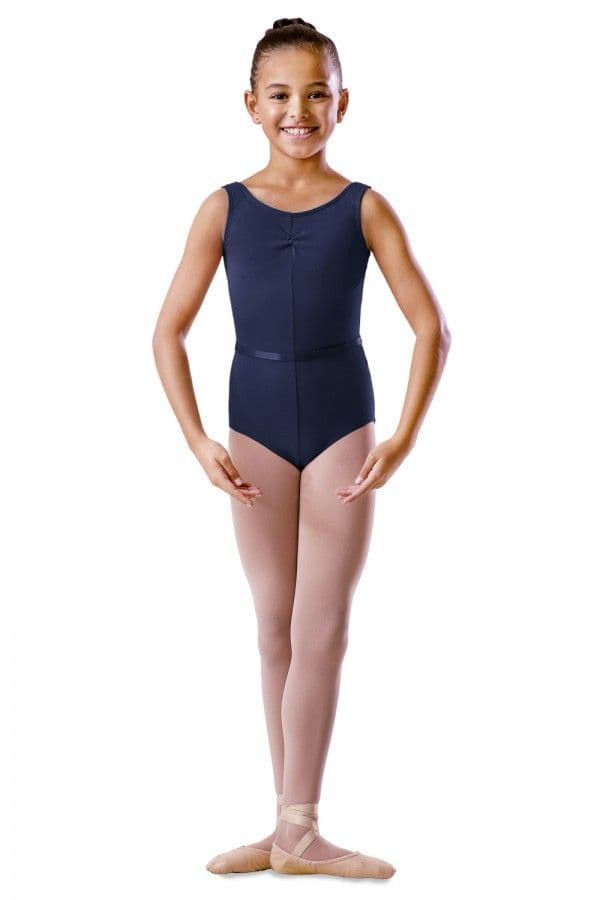 Regulation sleeveless leotard in cotton Lycra with a ruched front.