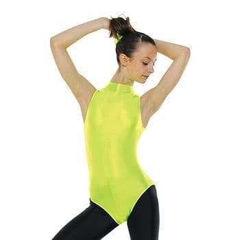 Turtle Neck Sleeveless Leotard With Keyhole Back