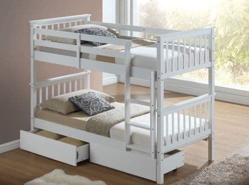 Amity White Wooden Bunk Bed