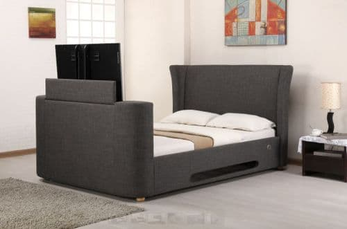Artisan Grey Fabric Electric Double 4ft6 Tv Bed