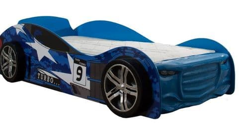 Children's Twin Turbo Racer Car Bed Blue