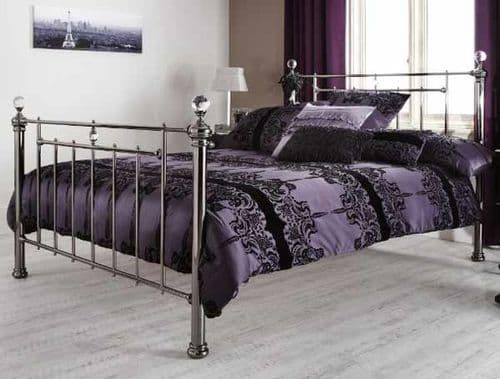 Clara Small Double 4'0 Metal Bedframe Black Nickel