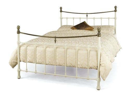 Edwardian II Double 4'6 Metal Bedframe Ivory Gloss and Antique Bronze