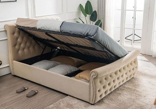 Flair Furnishings Lucinda Beige Chesterfield Side Lift Double 4ft6 Bedframe