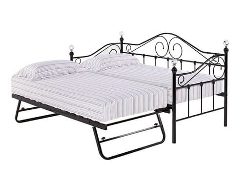 Florence Black Metal Single Day Bed With Underbed Trundle