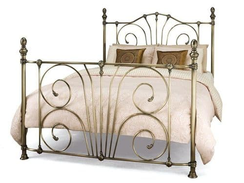Jessica Antique Brass Small Double 4ft Bedframe