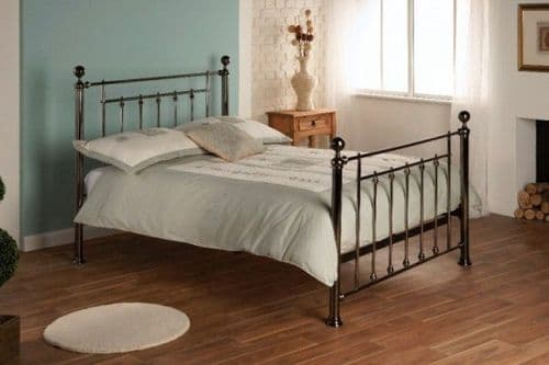 Limelight Libra Black Chrome Double 4ft6 Bedframe With Chrome Finial
