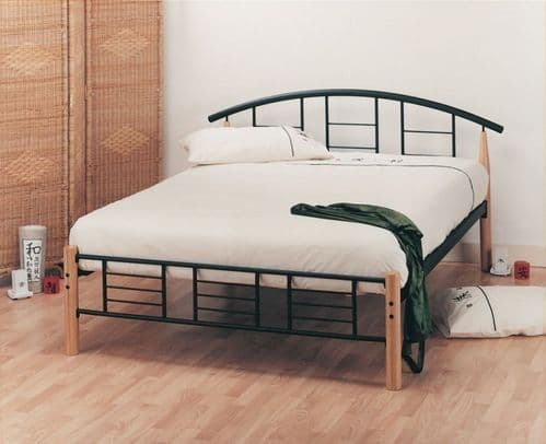 Limelight Neon Black & Beech Metal Double 4ft6 Bedframe