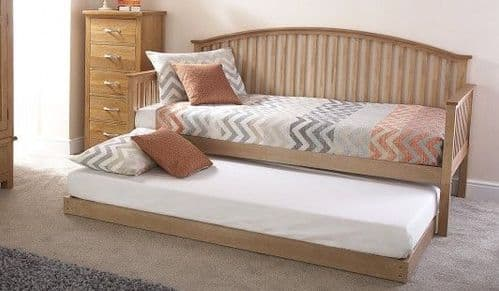 Madrid Natural Oak Wooden Day Bed With Underbed Trundle