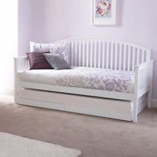 Madrid White Wooden Day Bed With Underbed Trundle