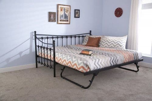 Memphis Black Gloss Single Day Bed and Trundle