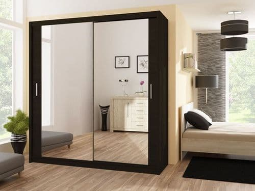 Pacific Black Large 2 Door Sliding Mirrored Wardrobe
