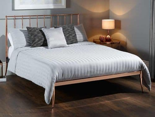 Saturn Double 4'6 Metal Bedframe Rose Gold