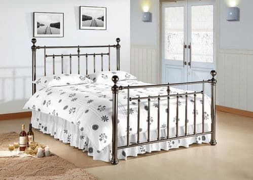 Time Living Alexander Double 4'6 Black Nickel Metal Bedframe