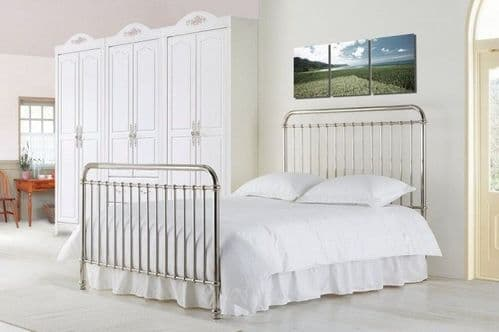 Time Living Rose Kingsize 5'0 Metal Chrome Bedframe