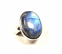 Rainbow Moonstone Ring Silver Very large Oval 'One-Off' size Q 1/2