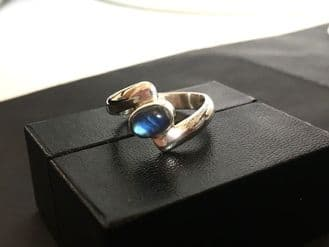 Up Down Rainbow Moonstone Ring Silver