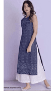 Blue Kurti With White Flare Trousers