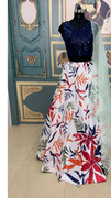 Funky Patterned Lehenga with Sparkly Blue Blouse