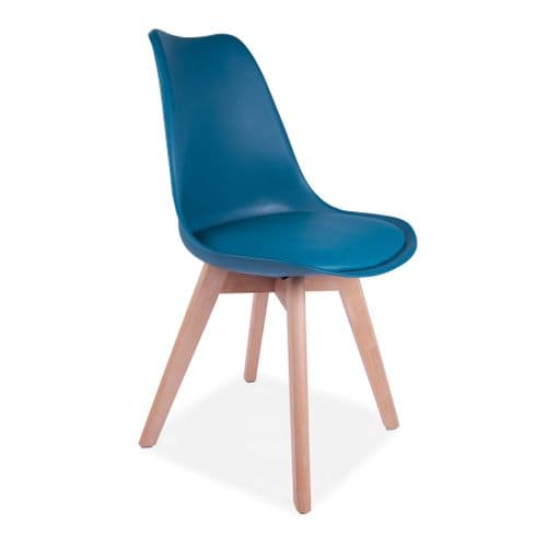 4x Tulip Pyramid Dining Chairs With Beech Legs, Ocean