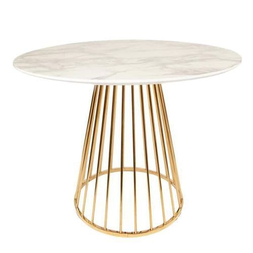 Mmilo White Liverpool Marble Table with Golden Chrome Legs 100cm