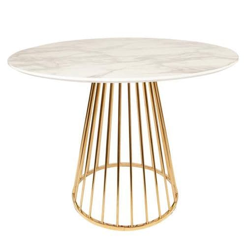 Mmilo White Liverpool Marble Table with Golden Chrome Legs 120cm