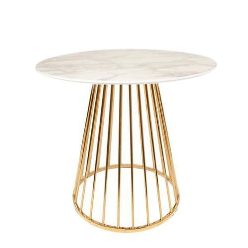 Mmilo White Liverpool Marble Table with Golden Chrome Legs 80cm