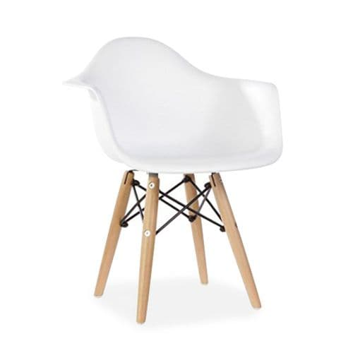 Set of Two Child's Eiffel Style Plastic Arm Chair, White