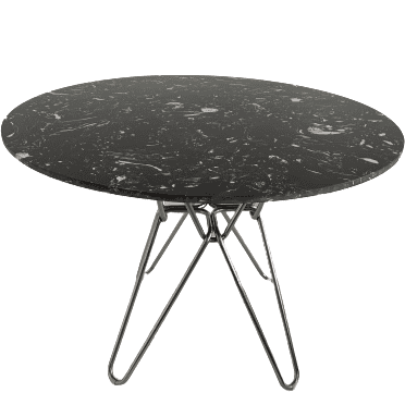 Modern black round Hairpin Dining table with stainless leg