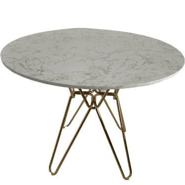 Modern white round Hairpin Dining table with gold leg