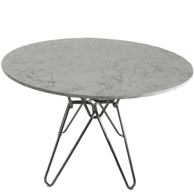 Modern white round Hairpin Dining table with stainless leg