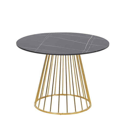 New  Black Liverpool Style Marble Table with Golden Chrome Legs- 100cm