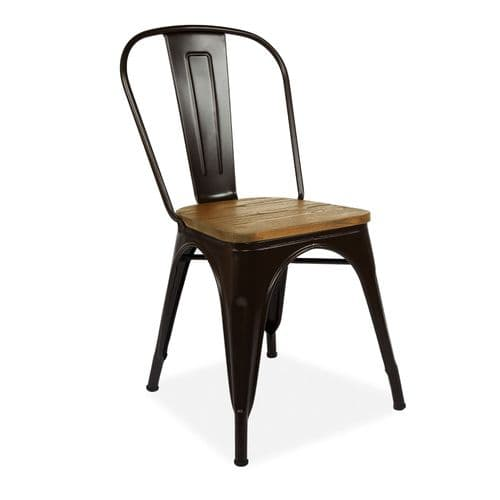Tolix Metal Chair Stackable Dining Chair with Wood Seat