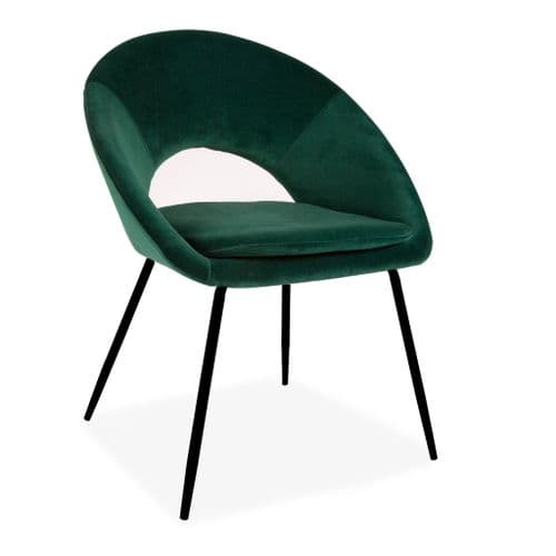 x2 Green Open Back Dining Chair With black legs