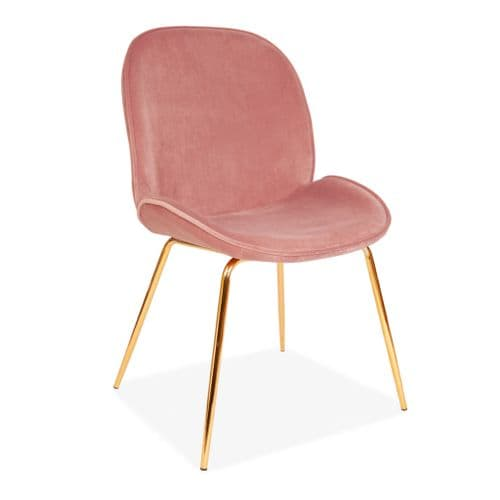 x2 Mmilo Journey Chair with Salmon Pink Seat and Gold Legs